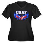 USAF Heart Flag Women's Plus Size V-Neck Dark T-S