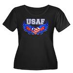 USAF Heart Flag Women's Plus Size Scoop Neck Dark