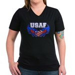 USAF Heart Flag Women's V-Neck Dark T-Shirt