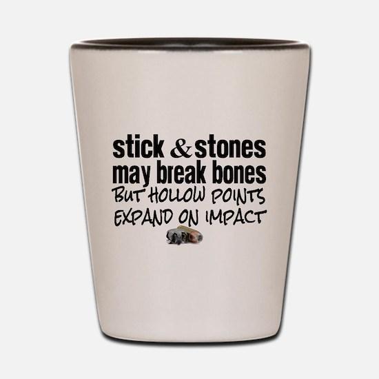 Sticks & Stones - Hollow Point Shot Glass