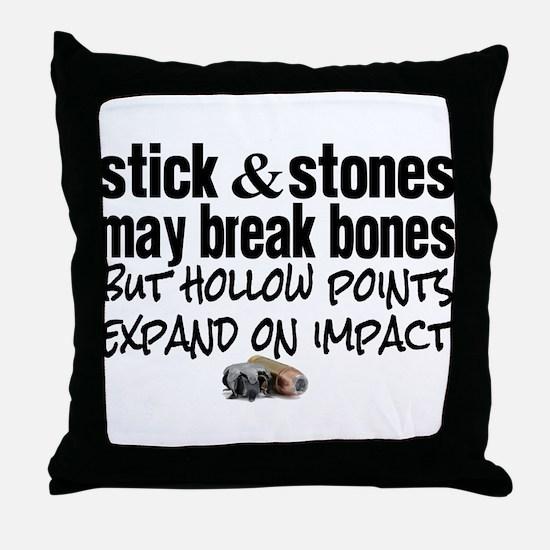 Sticks & Stones - Hollow Point Throw Pillow