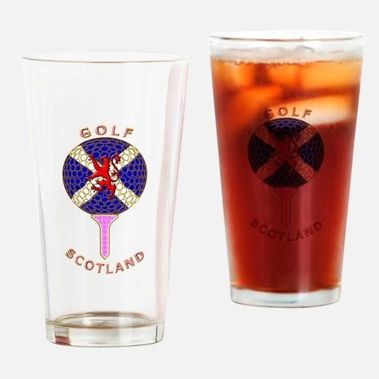 Saltire golf Scotland pink tartan Drinking Glass