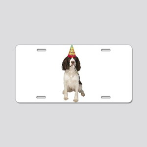 Springer Spaniel Birthday P Aluminum License Plate