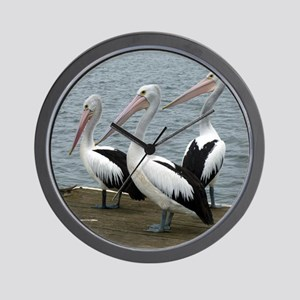 Three Gorgeous Pelicans Wall Clock