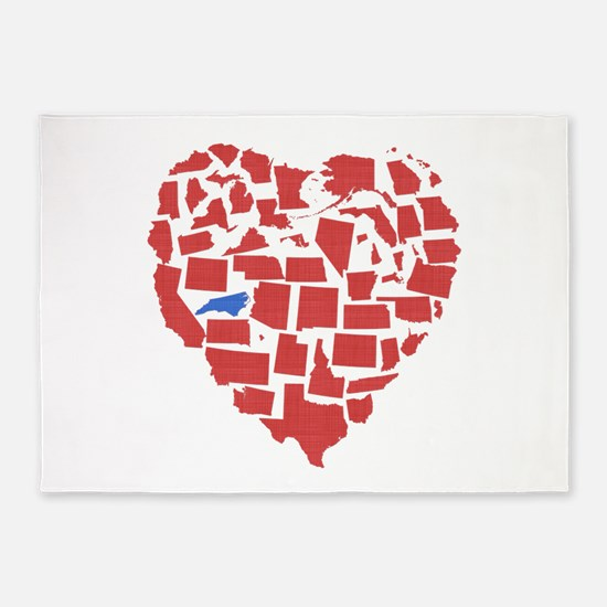 North Carolina Heart 5'x7'Area Rug