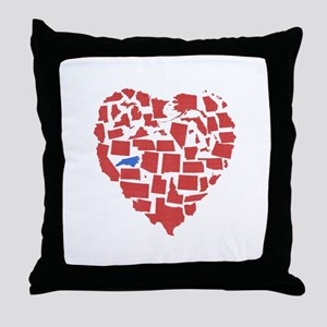 North Carolina Heart Throw Pillow
