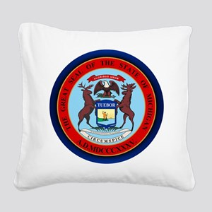 Michigan Seal Square Canvas Pillow