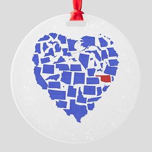 Oklahoma Heart Round Ornament