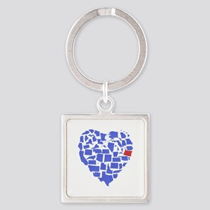 Oregon Heart Square Keychain