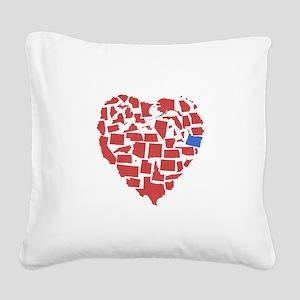 Oregon Heart Square Canvas Pillow