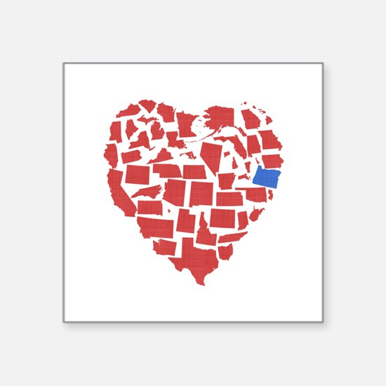 "Oregon Heart Square Sticker 3"" x 3"""