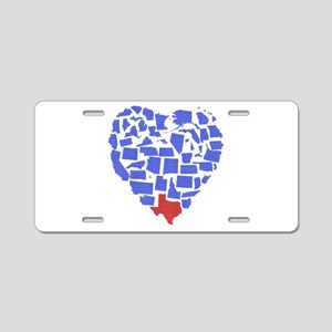 Texas Heart Aluminum License Plate