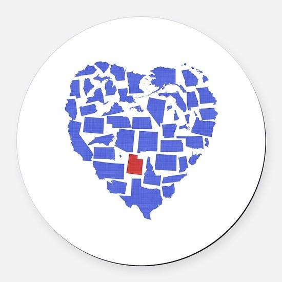 Utah Heart Round Car Magnet