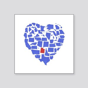 "Utah Heart Square Sticker 3"" x 3"""