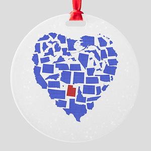 Utah Heart Round Ornament