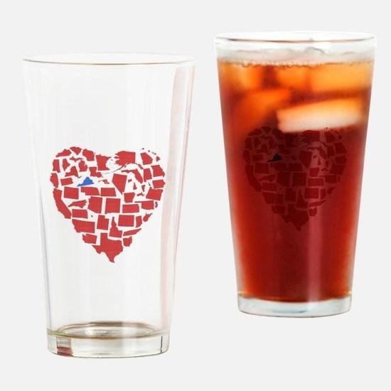 Virginia Heart Drinking Glass