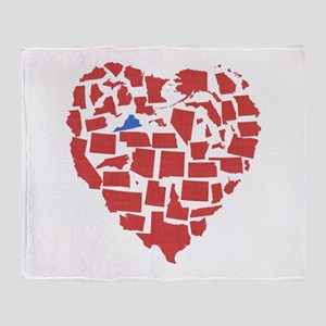 Virginia Heart Throw Blanket