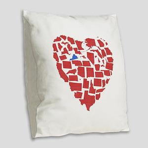 Virginia Heart Burlap Throw Pillow
