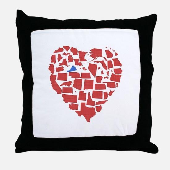 Virginia Heart Throw Pillow