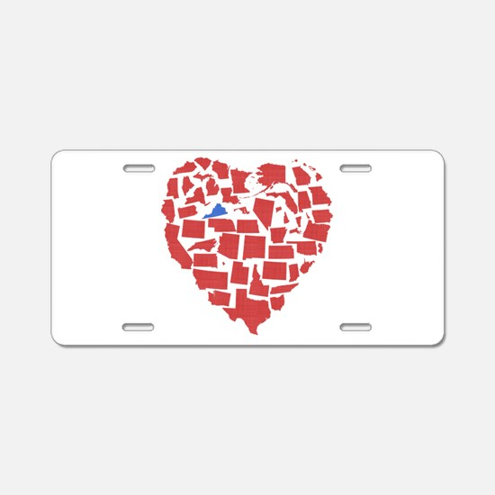 Virginia Heart Aluminum License Plate