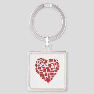 Virginia Heart Square Keychain