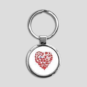 Virginia Heart Round Keychain