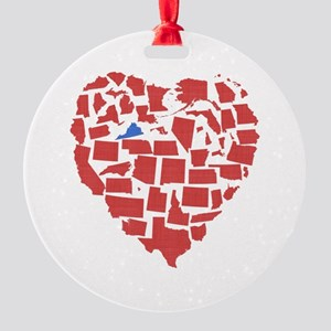 Virginia Heart Round Ornament