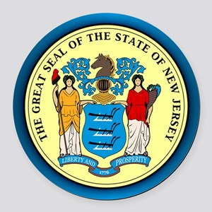 New Jersey Seal Round Car Magnet