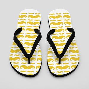 Yellow Grey Mustache Pattern Flip Flops