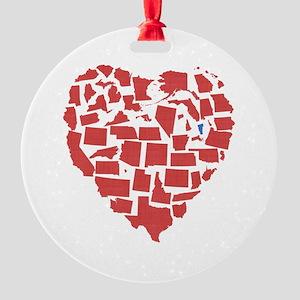 Vermont Heart Round Ornament
