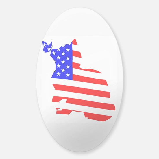 flag, cat and butterfly Decal