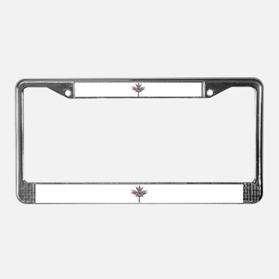 Maple Leaf Mosaic License Plate Frame
