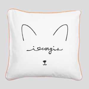 I Love Corgis - Square Canvas Pillow
