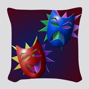 Comedy and Drama Masks 2 Woven Throw Pillow