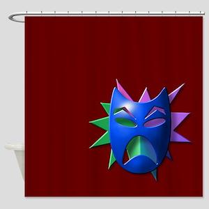 Blue Drama Mask Shower Curtain
