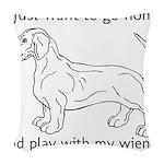 Wiener Play Woven Throw Pillow