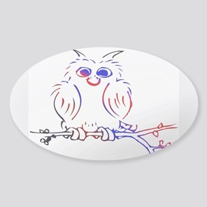 Red white and blue owl Sticker