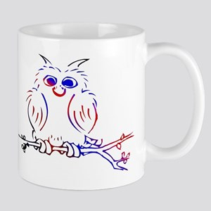 Red white and blue owl Mugs