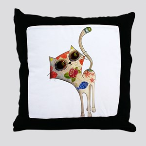 White Mexican Cat Throw Pillow