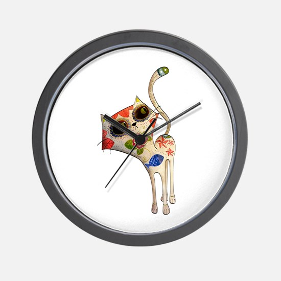 White Mexican Cat Wall Clock