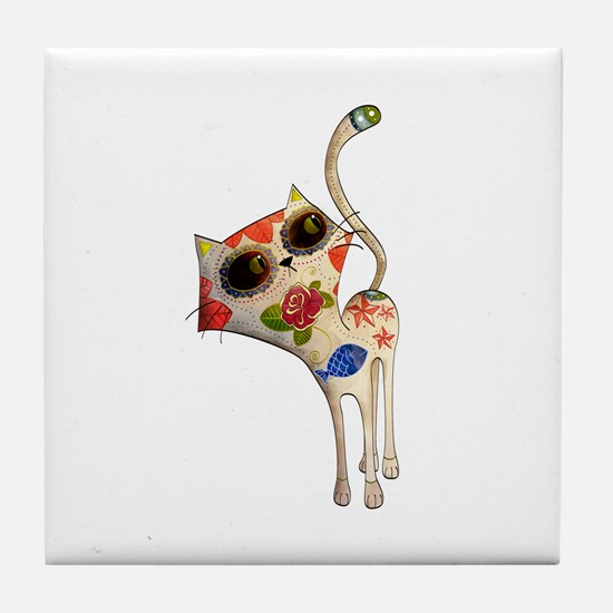 White Mexican Cat Tile Coaster