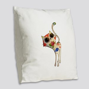 White Mexican Cat Burlap Throw Pillow