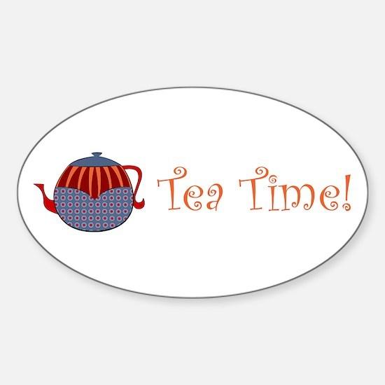 Tea Time Rolly Retro Teapot Sticker (oval)