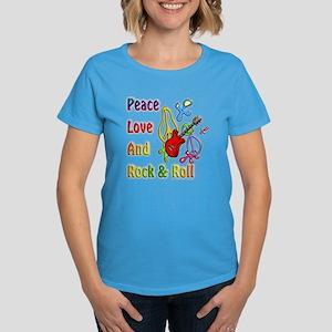 Peace Love & Rock n Roll Women's Dark T-Shirt