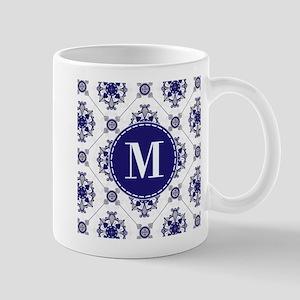 Medallion Pattern Blue Silver Custom Monogram Mugs