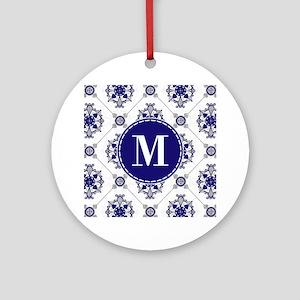Medallion Pattern Blue Silver Custom Monogram Orna