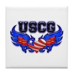 USCG Heart Flag Tile Coaster