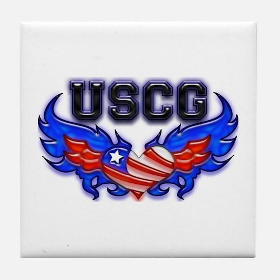USCG Heart Flag Tile Coaster