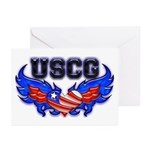 USCG Heart Flag Greeting Cards (Pk of 10)