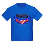 USCG Heart Flag Kids Dark T-Shirt